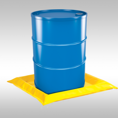 yellow 1 drum spill mat storing a blue drum