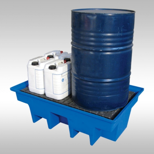 bunded pallet with a 205L drum and containers stored on it