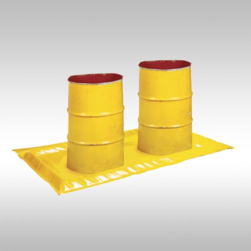 yellow 2 drum spill mat holding two 205L drums