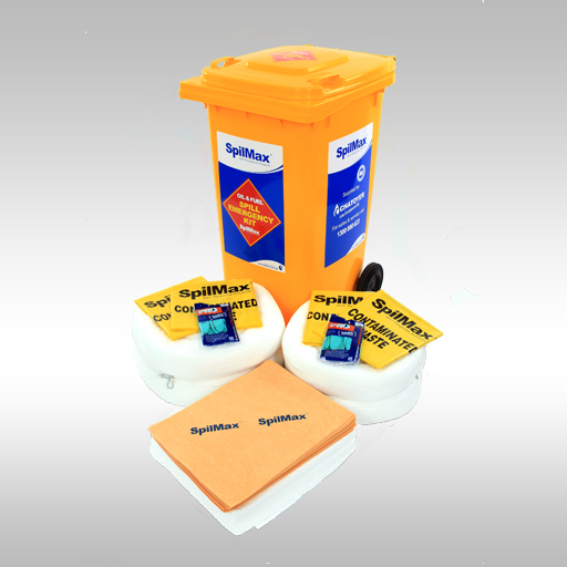 SpilMax 240L Marine Spill Kit with contents laid in front