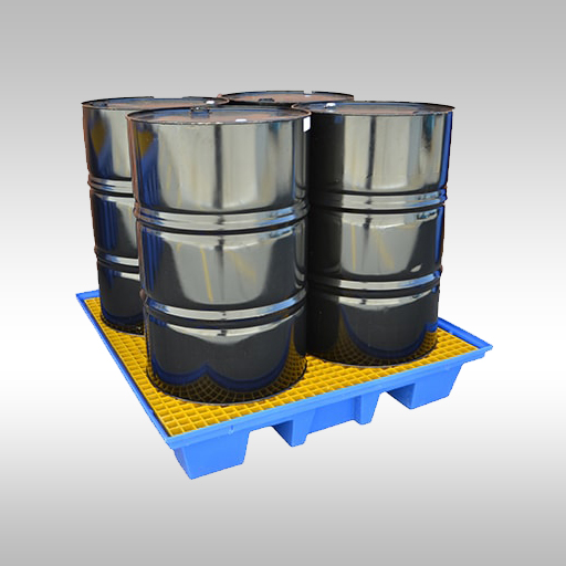 bunded pallet with 4 x 205L drum and containers stored on it