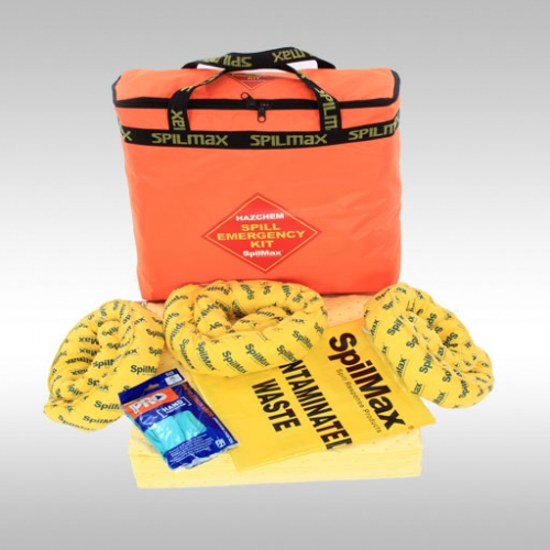Chemical Spill Kit Bag with contents laid out in front