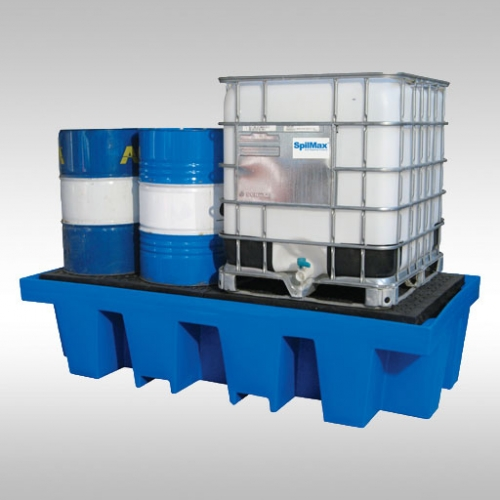 bunded pallet storing one IBC (intermediate bulk container) alongside some 205L drums