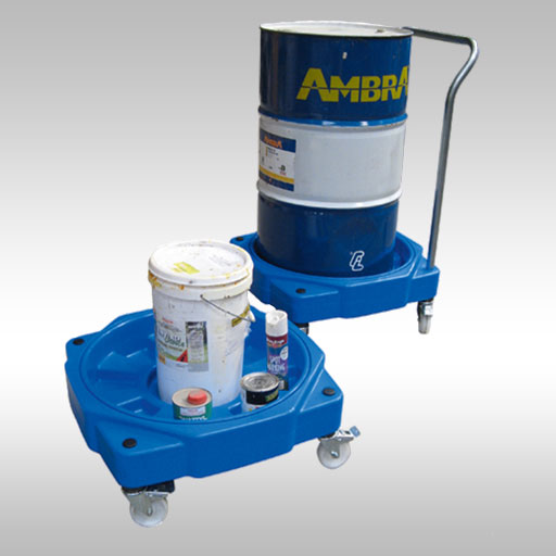 poly drum dolly shown with a handle and containing one 205L drum, another drum shown with no handle and holding a few small containers