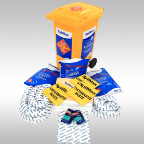 Fuel & Oil Spill Kit 240L in yellow wheelie bin with contents laid out in front