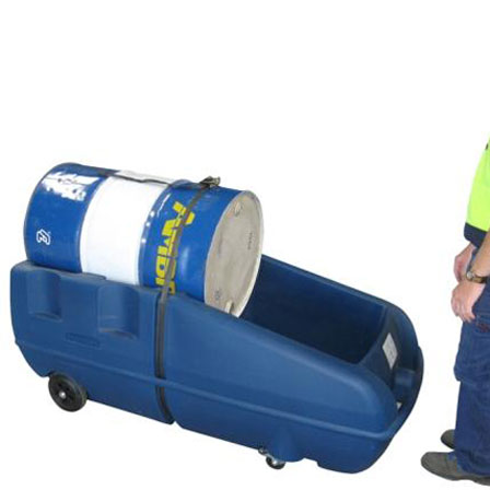 Mobile Drum Spill Containment Caddy containing one 205L drum laying horizontally so it can be moved by a person