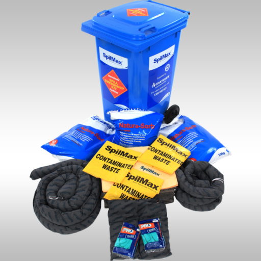 Universal Spill Kit 240L in blue wheelie bin with contents laid out in front
