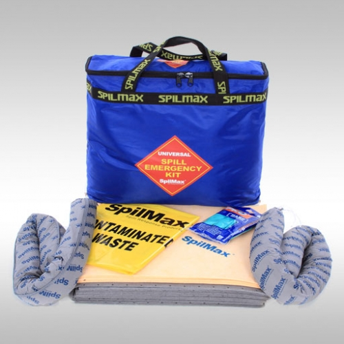 Universal Spill Kit Bag with contents laid out in front