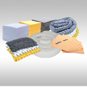 group picture of SpilMax spill response products that can be used to clean up a spill - absorbent pads, absorbent mini booms, absorbent wipes, absorbent pilllows and a large floating absorbent boom