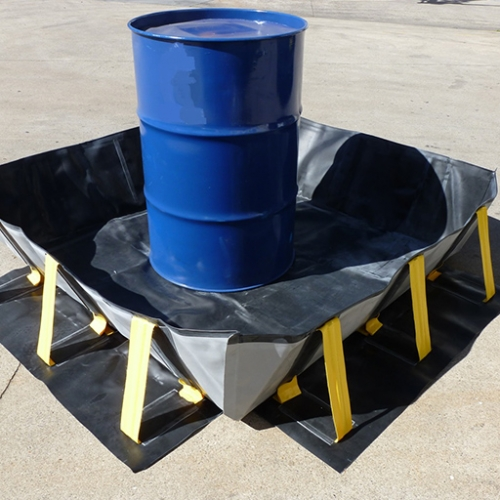 black portable collapsible bund with 205L drum stored in it