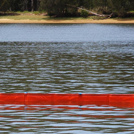 fence boom insitu in calm water