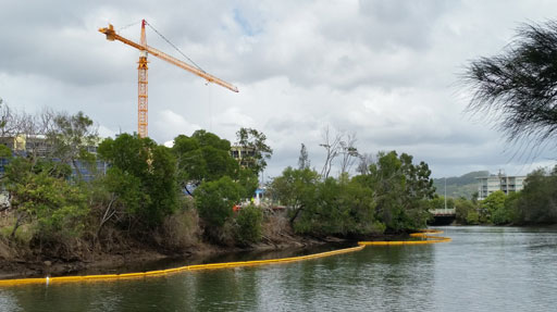 sediment curtain installed for silt control in tidal river in Queensland