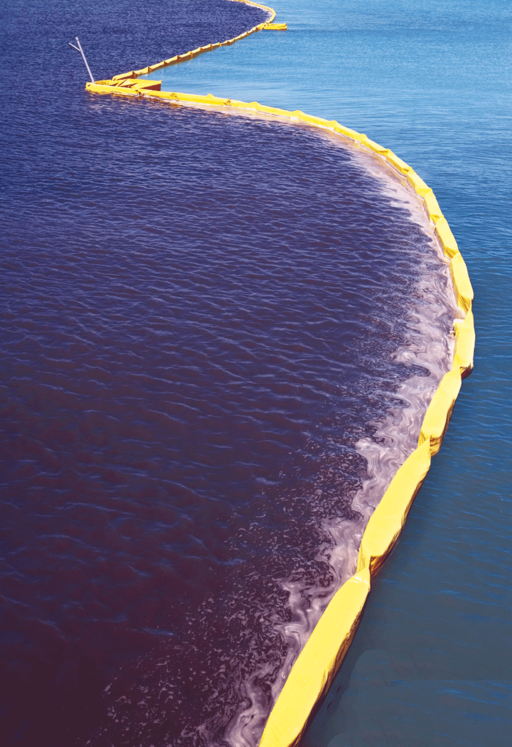 spill containment boom in open ocean