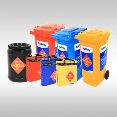 assortment of SpilMax spill kits - spill kits in wheelie bin, portable spill kits in bags, transport spill kit drum