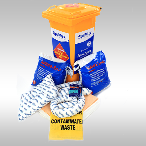 SpilMax 140L fuel & oil spill kit with contents laid out in front