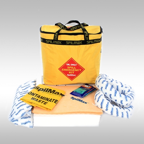 Fuel & Oil Vehicle Spill Kit Bag with contents laid out in front