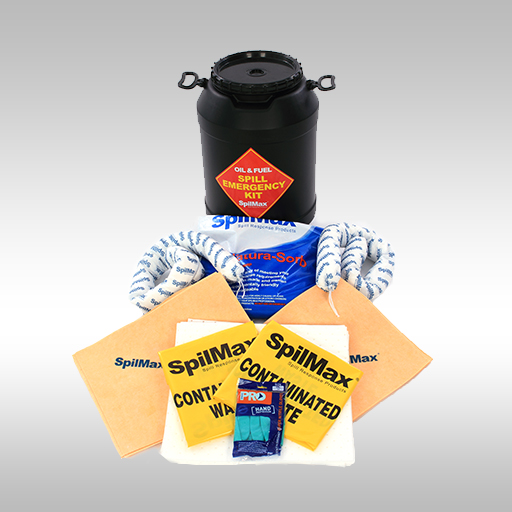 SpilMax Fuel & Oil vehicle spill kit drum with contents laid in front