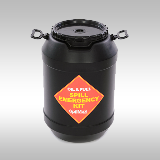 SpilMax Fuel & Oil Vehicle Spill Kit drum - black with handles