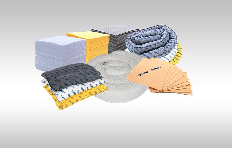 spill kit contents absorbents that are colour coded according to what they can absorb